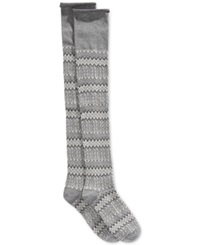 Lucky Brand Jacquard Texture Over The Knee Socks Heather Grey