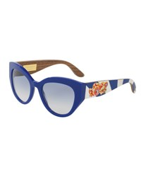 Dolce And Gabbana Wood Trim Universal Fit Cat Eye Sunglasses Blue