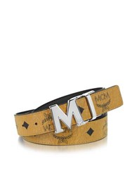 Mcm Color Visetos Cognac Black Coated Canvas Reversible Belt