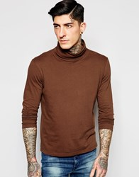 Sisley Long Sleeve Jersey T Shirt With Turtle Neck Rust