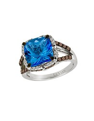 Le Vian Azure Blues Vanilla Diamond Chocolate Diamond Ocean Blue Topaz And 14K White Gold Ring 0.61 Tcw