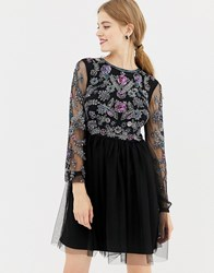 Frock And Frill Long Sleeve Embellished Skater Dress With Open Back Black