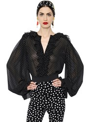 Dolce And Gabbana Micro Polka Dot Ruffled Georgette Shirt