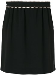 Red Valentino Scalloped Waistband Gathered Skirt Cotton Polyester Spandex Elastane Viscose Black