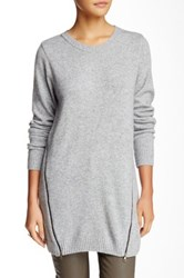 Zoa Side Zip Crew Neck Sweater Gray