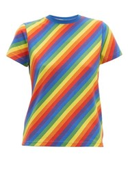 Balenciaga Rainbow Stripe Print Cotton T Shirt Multi