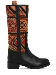 Etro 30Mm Leather And Velvet Boots Black