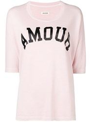 Zadig And Voltaire Printed Oversized Sweater Pink