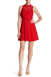 Guess Halter Mock Neck Lace Dress Red