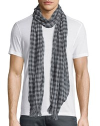 John Varvatos Lightweight Gingham Scarf Pond