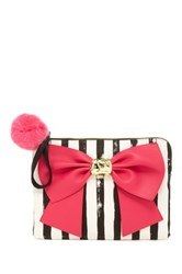 Betsey Johnson Bow And Arrow Faux Leather Wristlet Pink