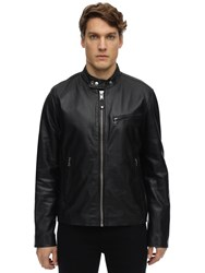 Schott Zip Up Leather Jacket Black
