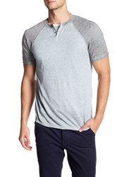 Autumn Cashmere Short Sleeve Raglan Henley Tee Blue