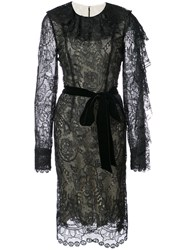 Monique Lhuillier Floral Lace Ruffle Sleeve Dress Silk Polyester Spandex Elastane Black
