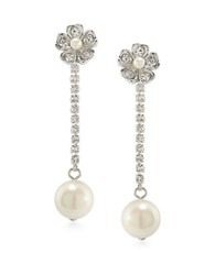 Carolee Grand Entrance Faux Pearl Linear Drop Earrings Silver