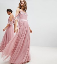 Maya Cold Shoulder Sequin Detail Tulle Maxi Dress With Ruffle Detail Vintage Rose Pink
