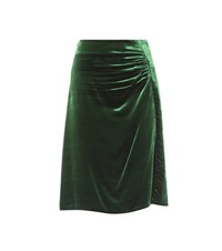 Prada Ruched Velvet Skirt Green