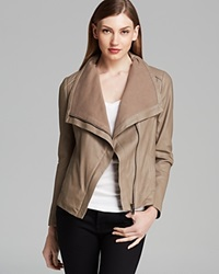 Elie Tahari Jacket Andreas Drape Front Leather Mink