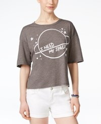Mighty Fine Juniors' I Need Space Graphic Boxy T Shirt Heather Charcoal