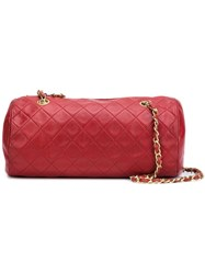 Chanel Vintage Quilted Barrel Shoulder Bag Red
