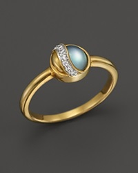 Kara Ross 18K Yellow Gold Small Hydra Ring With Blue Topaz Mother Of Pearl And Diamonds Gold Multi