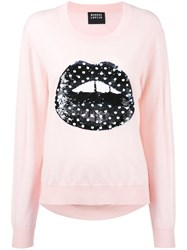 Markus Lupfer Sequin Lips Sweater Pink Purple