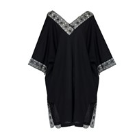 Umran Aysan Cotton Voile Kaftan Dress With Needle Lace Black