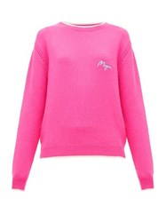 Msgm Logo Embroidered Wool And Cashmere Blend Sweater Fuchsia