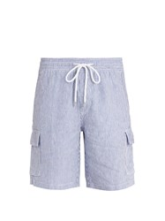 Vilebrequin Berrix Striped Linen Shorts Blue Stripe