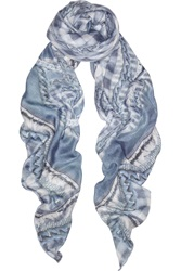Balmain Printed Modal And Cashmere Blend Scarf Blue