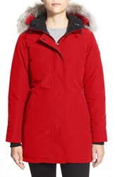Canada Goose Women's 'Victoria' Slim Fit Down Parka With Genuine Coyote Fur Trim Red