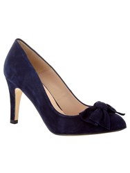 Phase Eight Amber Suede Bow Court Shoes Dark Blue