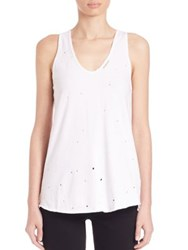 Rta Allison Distressed Racerback Tank White