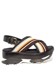 Marni Fussbett Slingback Leather Platform Sandals Multi
