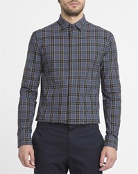 Eleven Paris Blue Ettore Check Hidden Button Placket Shirt