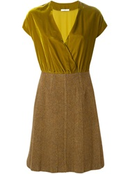 Prada Vintage Contrasting V Neck Dress Yellow And Orange