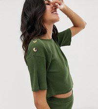 Asos Design Tall Mix And Match Ribbed Slouchy Tee With Tortoishell Buttons Green
