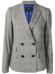 Paul Smith Ps By Double Breasted Check Blazer Grey