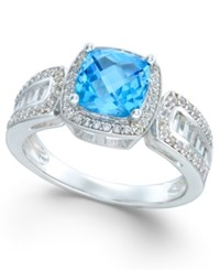 Macy's Blue Topaz 2 3 8 Ct. T.W. And Diamond 1 2 Ct. T.W. Ring In 14K White Gold