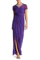 Marina Sheer Illusion Embellished Gown Petite Purple
