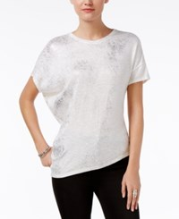 Bar Iii Metallic Asymmetrical T Shirt Only At Macy's Washed White Combo