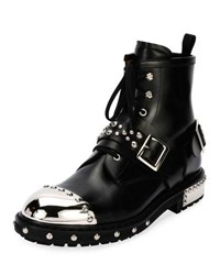 Alexander Mcqueen Studded Cap Toe Leather Lace Up Boot Black
