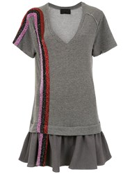 Andrea Bogosian Embroidered Dress Grey