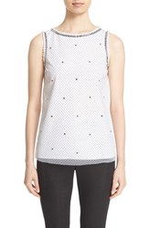 St. John Women's Collection Flocked Polka Dot Mesh Shell
