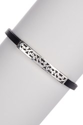 Lois Hill Sterling Silver Genuine Leather Cutout Id Bracelet No Color