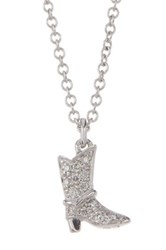Bony Levy 18K White Gold Diamond Cowboy Boot Pendant Necklace 0.03 Ctw Metallic