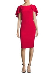 David Meister Flutter Cocktail Dress Rose