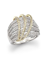 Bloomingdale's Diamond Multirow Ring In 14K White And Yellow Gold 1.0 Ct. T.W. White Gold