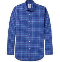 Cordings Pheasant Checked Brushed Cotton Twill Shirt Blue
