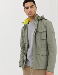 Solid Utility Hooded Jacket With Contrast Collar In Khaki Green